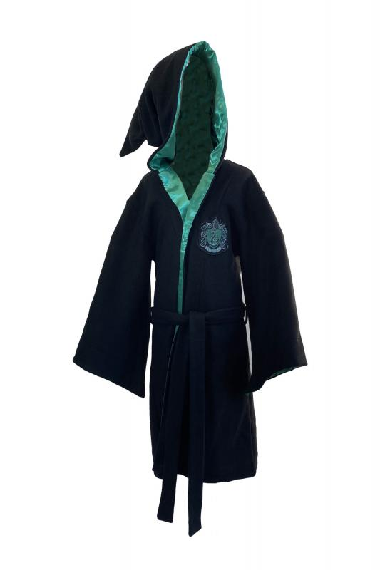 93562_Slytherin_Long_Length_Robe_Kids_ Black_Logo-Embroidered-on-Chest-FRONT